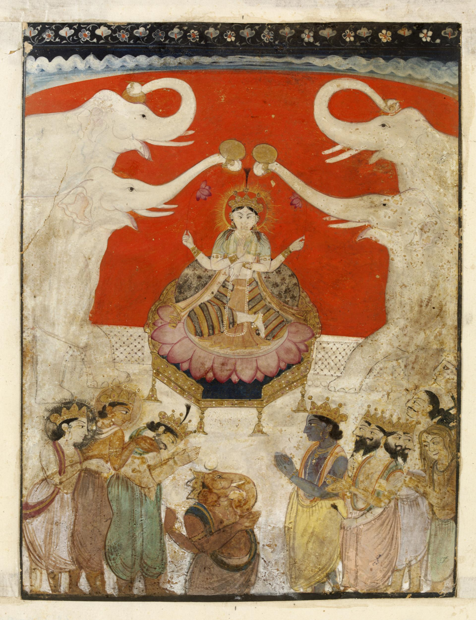 Image of Ganesh, Krishna and Brahma paying respect to Gaja-Lakshmi