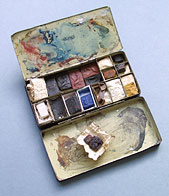 Metal paint box belonging to the miniaturist George Engleheart, Museum no. P.16-1925