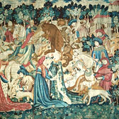 Tapestry featuring scenes of a Boar and Bear Hunt, (One of the Devonshire Hunting Tapestries)