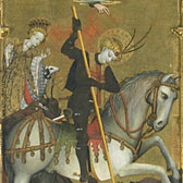 Altarpiece decorated with scenes from the life of St George, about 1420. Museum no. 1217-1864