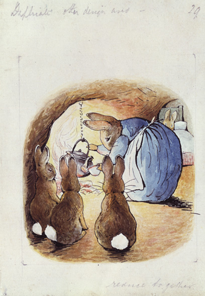 beatrix potter original illustration unused for the tale of peter rabbit