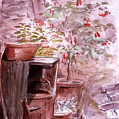 Beatrix Potter, 'Sketch of flower-pots'