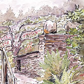 Beatrix Potter, 'Garden path and stone outhouse at Fawe Park'