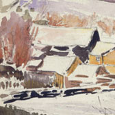 Beatrix Potter, 'Sketch of a farm in snow (1909)'