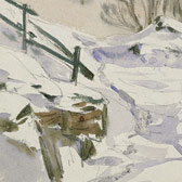 Beatrix Potter 'Sketch of a path in snow (1909)'