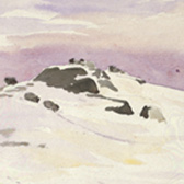Beatrix Potter, 'Sketch of a hilltop under snow (1909)'