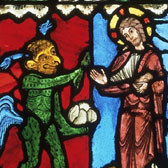 Panel of stained glass, about 1223. Museum no. C.107-1919