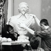 Installation of a bust in the British Galleries