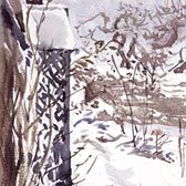 Beatrix Potter, 'Sketch of Hilltop porch in snow'