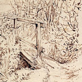 Beatrix Potter, 'Sketch of a wooden bridge over a stream'