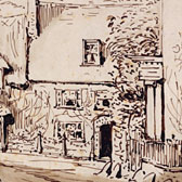 Beatrix Potter, 'Street corner with cottages'