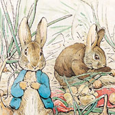 Beatrix Potter, 'Peter Rabbit and Benjamin Bunny collecting onions'
