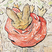 Beatrix Potter, 'Peter Rabbit falling out of tree onto Benjamin'