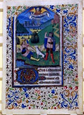 Four leaves from a Book of Hours, about 1470. Museum no. 9015A