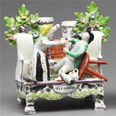 'Ale Bench' figure group, about 1835. Museum no. C.3-2002. Purchased through the Julie and Robert Breckman Staffordshire Fund