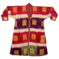 Man's robe with yellow squares on pink, purple and green stripe design