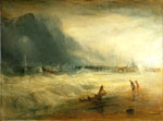 'Life-Boat and Manby Apparatus Going Off To A Stranded Vessel', oil painting by Joseph Mallord William Turner, about 1831. Museum no. FA.211. Given by John Sheepshanks, 1857
