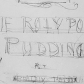 Preliminary design for the title page of The Roly-Poly Pudding, Beatrix Potter