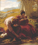 'The Sonnet', oil painting on panel by William Mulready, Great Britain, 1839. Museum no. FA.146. Given by John Sheepshanks, 1857