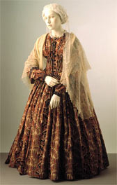 Paisley dress with shawl, designer unknown
