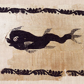 Tapestry-woven panel showing a dolphin, 4th or 5th century. Museum no. 1302-1888
