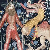 Detail from a tapestry panel showing a wild man and a monster, 12th to 15th century. Museum no. T.117-1937