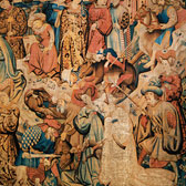 Detail of two heads from the Swan and the Otter Hunt Devonshire Hunting tapestry, mid-15th century. Museum no. T.203-1957