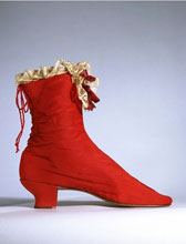 Ribbed silk boot with lace trim, designer unknown