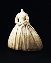 Wedding dress of silk satin and lace, designer unknown