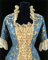 Jacquard silk dress with ruching and lace, designer unknown