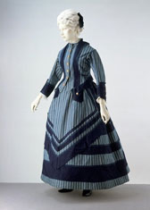 Cotton walking dress with braid, designer unknown