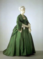 Silk dress with bustle, designer unknown