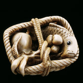 Netsuke of a basket of fish, Japan