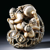 Netsuke depicting Raiden, Japan