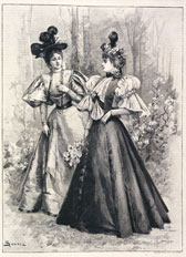 Engraving of outdoor dress by Maison Worth, The Lady's Newspaper