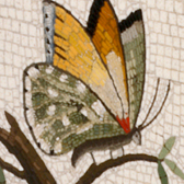 Specimen block with butterfly mosaics. Museum no. Loan:Gilbert.109:1, 2-2008