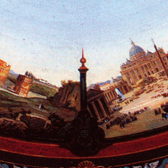 Table with 'Beautiful Sky of Italy'. Museum no. Loan:Gilbert.894:1, 2-2008