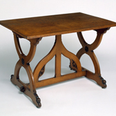 Medieval style table in oak, A. W. N. Pugin