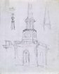 Sketched perspective and details of a church, its spire and weathervane