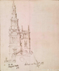 Sketched elevations of the steeple of Christ Church and the tower of All Hallows Church, Charles Robert Cockerell