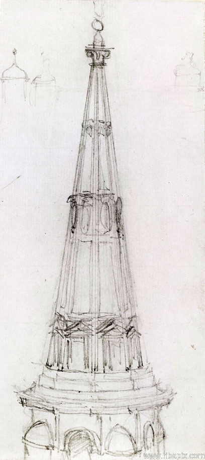 Sketch Of A Spire Charles Robert Cockerell