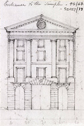 Sketched elevation of Fleet Street entrance, Charles Robert Cockerell