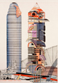 Designs for Sleek Tower and Verandah Tower, Peter Cook