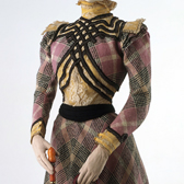 Costume in wool check, France