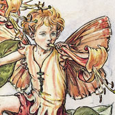 Cicely Mary Barker (1895-1973)Illustration of the Honeysuckle Fairy for Flower Fairies of the Summer1925. Reproduction of Flower Fairy illustrations, © The Estate of Cicely Mary Barker