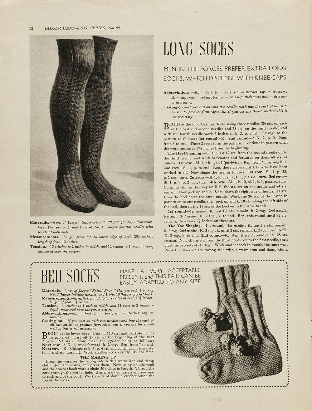 Homespun stitchworks for the love of vintage free patterns long socks and bed socks pattern for long socks and bed socks from essentials for the forces jaeger handknit bankloansurffo Image collections