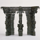 Part of a model of pillars in Tirumala Nayak's Pudu Mandapa, Madurai, India