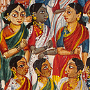 Detail of a scroll showing a religious procession