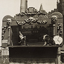 Professor Richard Codman lll's Punch and Judy booth outside Lime Street Station, Liverpool