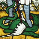 Stained glass window showing St George and the Dragon